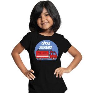Córka strażaka, czarna koszulka dziecięca STRAŻACKA z nadrukiem STR013