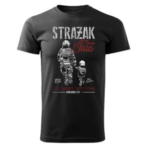 Strażak Tata Jak zwykły tata tylko odważniejszy, czarna koszulka STRAŻACKA z nadrukiem STR015 DTG