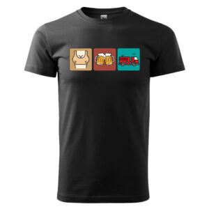 Strażak Trylogia, czarna koszulka STRAŻACKA z nadrukiem STR017
