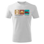Strażak Trylogia z napisem, biała koszulka STRAŻACKA z nadrukiem STR018 DTG