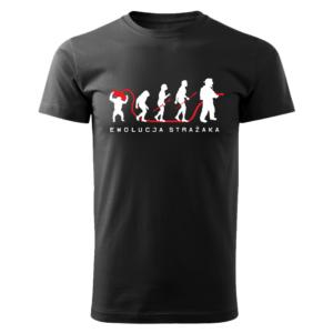 Ewolucja strażaka, czarna koszulka STRAŻACKA z nadrukiem STR019 DTG