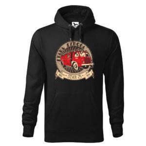 Stara-szkoła, STAR 25, zabytkowy wóz strażacki retro, czarna bluza strażacka z kapturem STR020