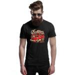 Kultowy STAR 21, czarna męska koszulka STRAŻACKA z nadrukiem DTG0022