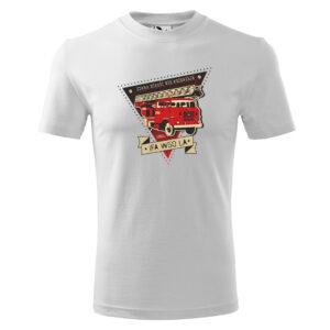 IFA W50 LA, stara miłość nie rdzewieje, biała męska koszulka STRAŻACKA z nadrukiem DTG0023