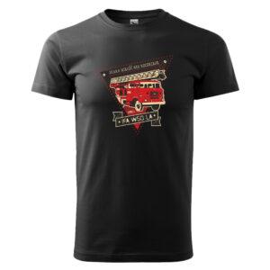 Kultowy STAR 21, czarna męska koszulka STRAŻACKA z nadrukiem DTG0023