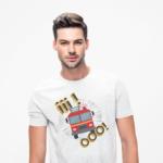Iiiooo, biała koszulka STRAŻACKA z nadrukiem STR012 DTG