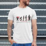 Ewolucja strażaka, biała koszulka STRAŻACKA z nadrukiem STR019 DTG