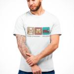Strażak Trylogia z napisem, biała koszulka STRAŻACKA z nadrukiem STR018