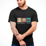 Strażak Trylogia z napisem, czarna koszulka STRAŻACKA z nadrukiem STR018 DTG