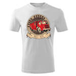 Męska biała koszulka STRAŻACKA z nadrukiem prezent dla strażaka DTG020