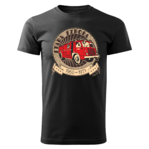 Męska czarna koszulka STRAŻACKA z nadrukiem prezent dla strażaka DTG020