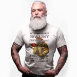 Wystarczająco odważny żeby zostać strażakiem, męska biała koszulka STRAŻACKA z nadrukiem DTG0024