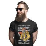 Wystarczająco odważny żeby zostać strażakiem, męska czarna koszulka STRAŻACKA z nadrukiem DTG0024