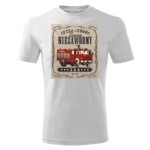 Męska biała koszulka STRAŻACKA z nadrukiem prezent dla strażaka DTG0029