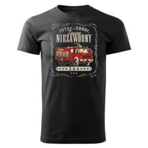 Męska czarna koszulka STRAŻACKA z nadrukiem prezent dla strażaka DTG0029