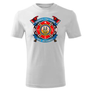 Męska biała koszulka STRAŻACKA z nadrukiem prezent dla strażaka DTG030
