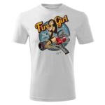 Męska biała koszulka STRAŻACKA z nadrukiem prezent dla strażaka DTG031
