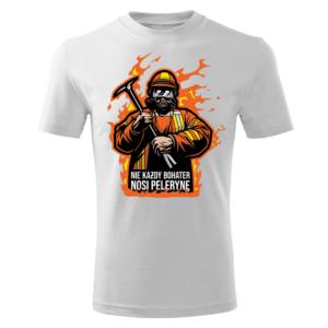 Męska biała koszulka STRAŻACKA z nadrukiem prezent dla strażaka DTG033