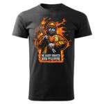 Męska czarna koszulka STRAŻACKA z nadrukiem prezent dla strażaka DTG033