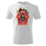 Męska biała koszulka STRAŻACKA z nadrukiem prezent dla strażaka DTG034