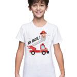 Na akcję, biała koszulka dziecięca straż STR035 DTG