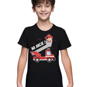 Na akcję, czarna koszulka dziecięca straż STR035 DTG