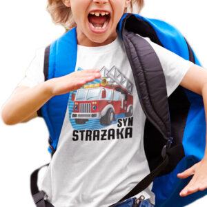 Syn strażaka, biała koszulka dziecięca STR037 DTG