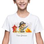 Mały strażak, biała koszulka dziecięca STR038 DTG