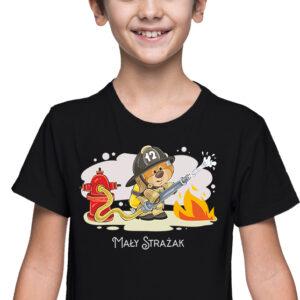 Mały strażak, czarna koszulka dziecięca STR038 DTG