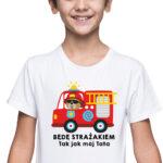 Będę strażakiem, biała koszulka dziecięca STR039 DTG