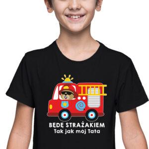 Będę strażakiem, czarna koszulka dziecięca STR039 DTG