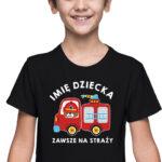Zawsze na straży, czarna koszulka dziecięca STR040 DTG