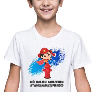 Super moc, biała koszulka dziecięca STR041 DTG