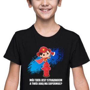 Super moc, czarna koszulka dziecięca STR041 DTG