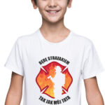 Będę strażakiem, biała koszulka dziecięca STR042 DTG