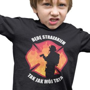 Będę strażakiem, czarna koszulka dziecięca STR042 DTG