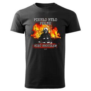 Piekło było pełne, czarna koszulka strażacka DTG043