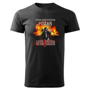 Iskrą wzniesiesz pożar, czarna koszulka straż DTG044