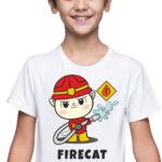 Firecat, biała koszulka dziecięca STR045 DTG