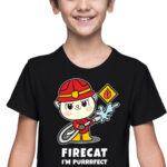 Firecat, czarna koszulka dziecięca STR045 DTG