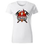 Jestem dziewczyną strażaka, biała damska koszulka STRAŻACKA z nadrukiem DTG0046