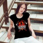 Jestem dziewczyną strażaka, czarna damska koszulka STRAŻACKA z nadrukiem DTG0046