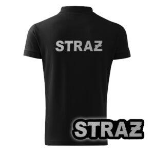 Czarna koszulka strażacka polo HAFT-DRUK SZARY NAPIS