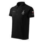 Czarna koszulka strażacka polo HAFT-DRUK WZ01 Ognik OSP szary napis
