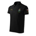 Czarna koszulka strażacka polo HAFT-DRUK WZ03 Toporki i Hełm