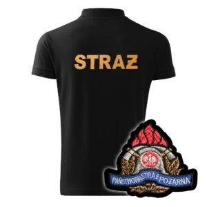 Czarna koszulka strażacka polo HAFT-DRUK WZ05 PSP żółty napis
