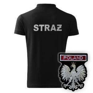 Czarna koszulka strażacka polo HAFT-DRUK WZ06 Orzeł Polska