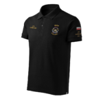Czarna koszulka strażacka polo HAFT-DRUK WZ09 WOP