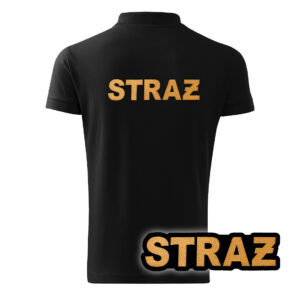 Czarna koszulka strażacka polo HAFT-DRUK ŻÓŁTY NAPIS