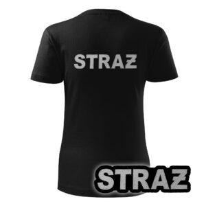 Damska czarna koszulka strażacka HAFT-DRUK SZARY NAPIS